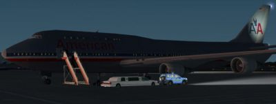 Screenshot of American Airlines Boeing 747-400 on the ground at night.