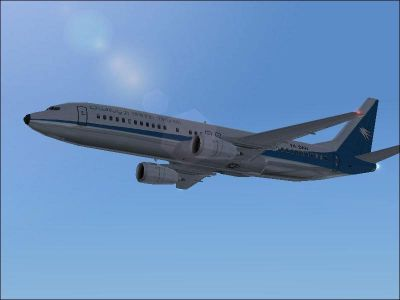 Screenshot of Ariana Afghan Airlines 737-400 in flight.