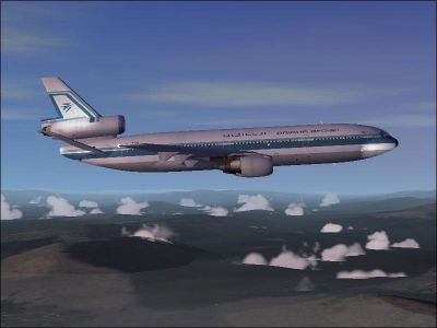 Screenshot of Ariana Afghan Airlines DC-10-30 in flight.