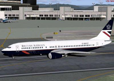 """Screenshot of B737-400 """"Landor"""" on runway."""