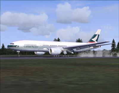 Screenshot of Cathay Pacific Boeing 777-200 on runway.