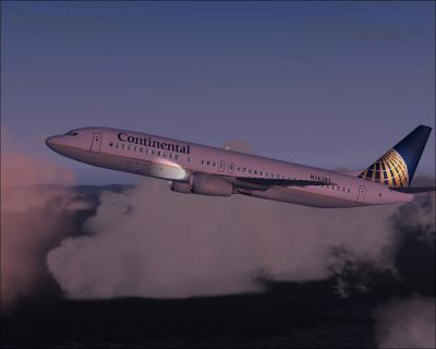 Screenshot of Continental Airline B737-400 in flight at dusk.