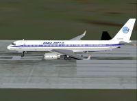 Screenshot of Dalavia Tupolev Tu-204-120 on runway.