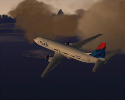 Screenshot of B737-400 in flight.