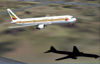 Screenshot of Ethiopian Airlines Boeing 767-300ER taking off.