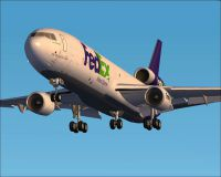 Screenshot of FedEx McDonnell Douglas MD-11 in flight.