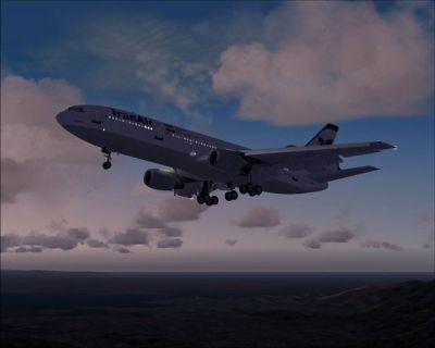 Iranair Douglas DC-10 with landing gear lowered.