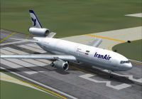 Screenshot of Iranair Douglas DC-10 on runway.