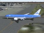 KLM Boeing 777-206ER taxiing to runway.