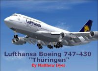 Screenshot of Lufthansa Boeing 747-400 in the air with landing gear lowered.