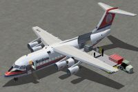 Screenshot of Meridiana BAe 146-200 on the ground.