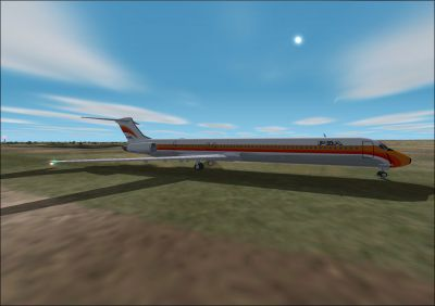 Screenshot of McDonnell Douglas MD-80 on the ground.