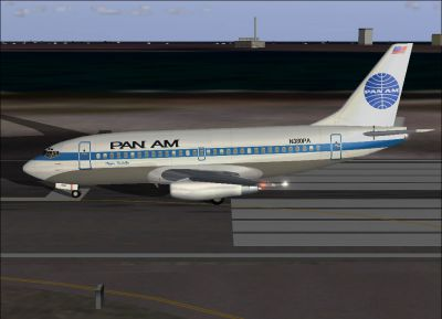 Screenshot of Pan Am Boeing 737-275 on runway.