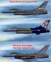 Picture displaying all three repaints of Royal Danish F-16.