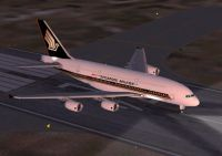Screenshot of Singapore Airlines Airbus A380 on runway.