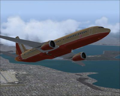 Screenshot of Southwest Airlines Boeing 737-400 in flight.