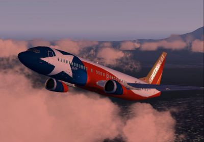 "Screenshot of Southwest Airlines Boeing 737-400 ""Lone Star One"" in flight."
