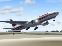 Screenshot of Trans World Airlines 777-236ER taking off.