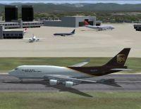 Screenshot of UPS Boeing 747-400 on runway.