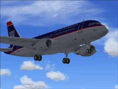 US Airways Shuttle Airbus A319 on landing approach.