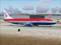 Screenshot of World Cup Boeing 737-400 on the ground.