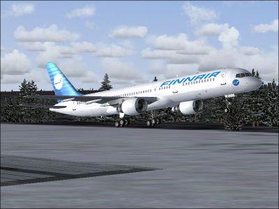 Screenshot of Finnair Boeing 757-200 taking off.