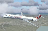 Screenshot of Free Bird Airlines MD-83 in flight.