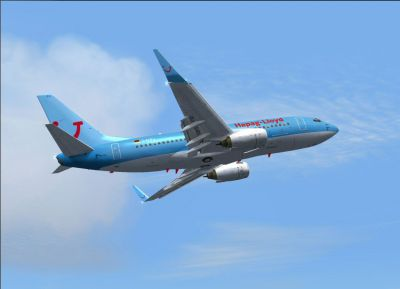 Screenshot of Hapag Lloyd Boeing 737-700 in the air.