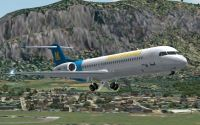 Screenshot of House Livery Fokker 100 in flight, raising the landing gear.