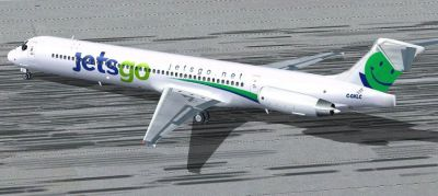 Screenshot of JETSGO Airlines MD-83 on the ground.