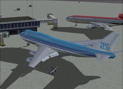 Screenshot of KLM Boeing 747-206BM at the gate.