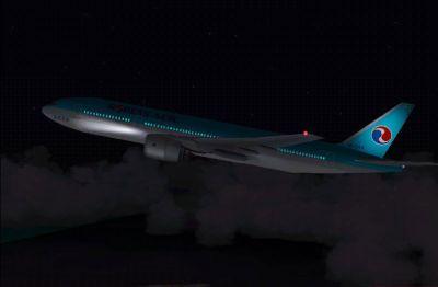 Screenshot of Korean Air Boeing 777-200 flying at night.