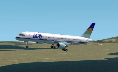 Screenshot of LAPA Boeing 757-200 in flight.