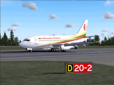 Screenshot of Lithuanian Airlines Boeing 737-200 on the ground.