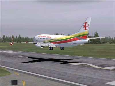 Screenshot of Lithuanian Airlines Boeing 737-300 landing on runway.