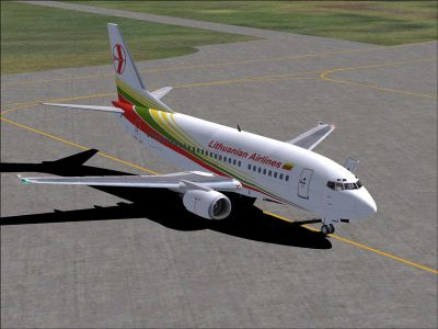 Screenshot of Lithuanian Airlines Boeing 737-500 on the ground.