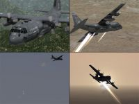 Four tiled images of Lockheed AC-130 Spooky/Spectre.