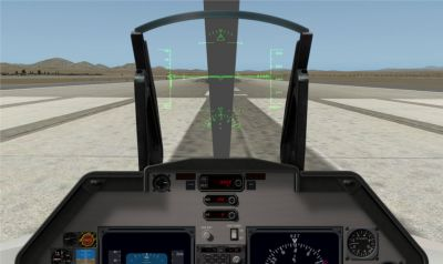 View from the cockpit of Lockheed Have Blue on runway.