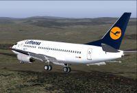 Screenshot of Lufthansa Boeing 737-500 in flight.