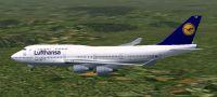 Screenshot of Lufthansa Boeing 747-400 in flight.