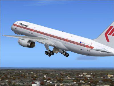 Screenshot of Martinair Boeing 757-200 RR raising landing gear.