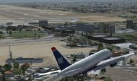 Plane approaching McCarran International Airport.