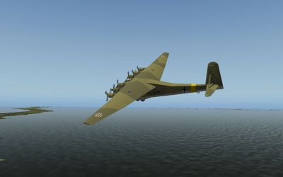 Screenshot of Me 323 in flight over coastal waters.