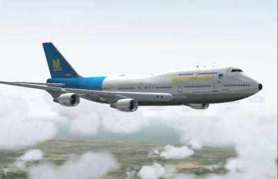 Screenshot of Mediterranea Boeing 747-400 in flight.