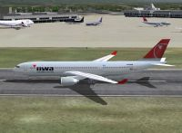 Screenshot of Northwest Airlines A330-200 on the ground.
