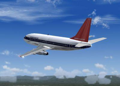 Screenshot of Northwest Boeing 737-251 in the air.