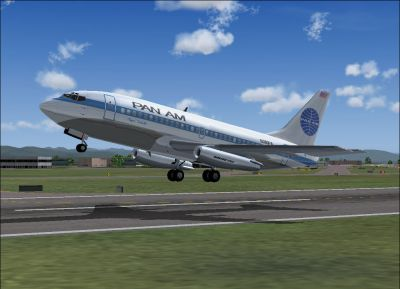 Screenshot of Pan Am Boeing 737-275 taking off.