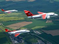 Three of RAF Transport Command Avro RJ85's in formation.