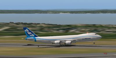Screenshot of SSG AI 747-8F taking off.