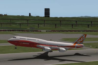 Screenshot of SSG AI 747-8i taking off.
